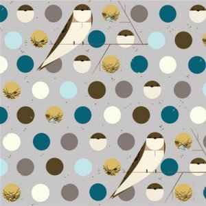 Birch Fabrics Charley Harper Fabric - Bank Swallow - Blue