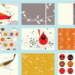 Birch Fabrics Charley Harper Fabric - Cardinal Patch