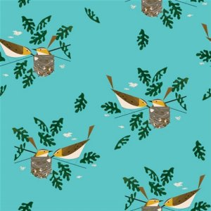 Birch Fabrics Charley Harper Fabric - Red Eye Vireo (Ships Early July)