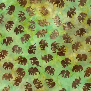 Michael Miller Fabrics Batiks Fabric - Little Elephants - Sage