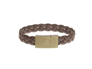 Swan + Saxon Single Leather Bracelet - Braided Brown