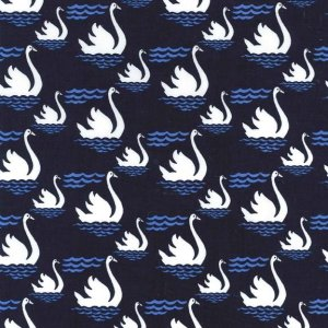 Michael Miller Fabrics Blue & White Fabric - Swan Dive