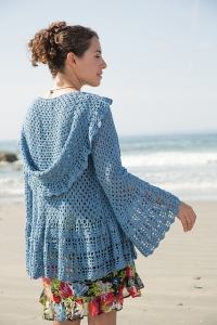 Classic Elite Firefly Azul Hooded Cardigan Kit - Crochet for Adults