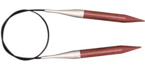 "Knitter's Pride Dreamz Fixed Circular Needles - US 1.5 - 24"" Burgundy Rose Needles"