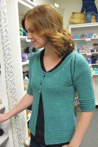 Knitting Pure and Simple Summer Sweater Patterns - 1401 - Short Sleeved 3 Button Cardigan Pattern