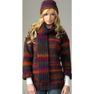 James C. Brett Women's Sweater Patterns - JB071 - Sweater, Hat and Scarf Pattern