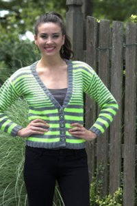 Plymouth Yarn Jacket & Cardigan Patterns - 2681 Women's Multi Stripe Cardigan Pattern