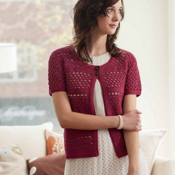 Cascade Ultra Pima Cranberry Cardigan Kit - Crochet for Adults