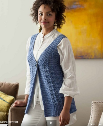 Cascade 220 Superwash Summer Sky Vest Kit - Crochet for Adults