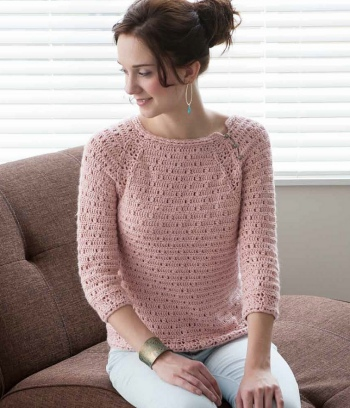 Blue Sky Alpacas Alpaca Silk Rose Quartz Pullover Kit - Crochet for Adults