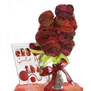 Jimmy Beans Wool Koigu Yarn Bouquets - Crochet Red Noro Bouquet - With Book