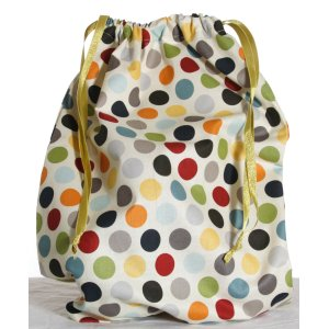Jimmy Beans Wool Hand Made Project Bag - Sochi '14 - Vintage Polka Dot - Rainbow