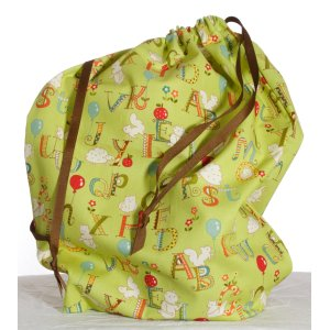 Jimmy Beans Wool Hand Made Project Bag - Ps & Qs - ABC Critters - Green