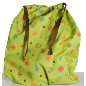 Jimmy Beans Wool Hand Made Project Bag - Ps & Qs - Dots & Daisies - Green