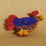 Muench Plastic Buttons - Chicken - Royal Blue & Red