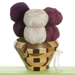 Jimmy Beans Wool Yarn Bouquets - Rauma Finullgarn Flower Pot - Purple