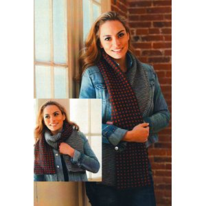Plymouth Yarn Women's Accessory Patterns - 2732 Half and Half Tube Scarf Pattern
