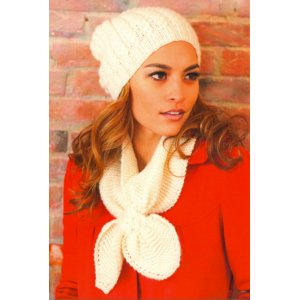 Plymouth Yarn Women's Accessory Patterns - 2745 Woman's Cable Hat and Keyhole Scarf Pattern