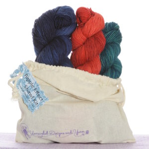 Unraveled Designs and Yarn Ripple Effect Shawl Kits - 2 - Juniper Berry, Blood Orange, Midnight