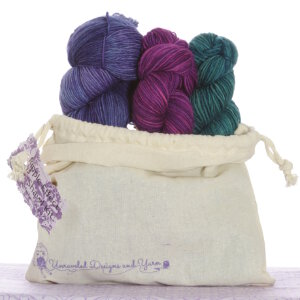 Unraveled Designs and Yarn Ripple Effect Shawl Kits - 3 - Juniper Berry, Amaranth, Wisteria