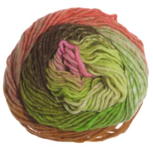 Noro Kureyon Yarn - 345 Lime, Coral, Pink, Brown
