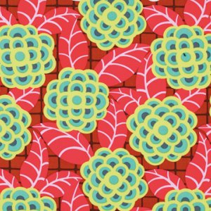 Amy Butler Cameo Fabric - Tea Rose - Scarlet