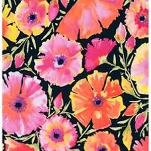 Dena Designs Painted Garden Fabric - Azalea - Black