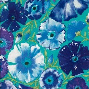 Dena Designs Painted Garden Fabric - Azalea - Peacock