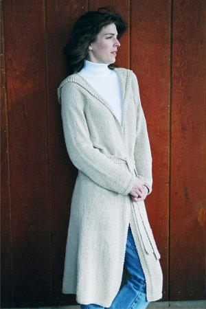 Knitting Pure and Simple Women's Cardigan Patterns - 0225 - Neckdown Long Hooded Cardigan Pattern