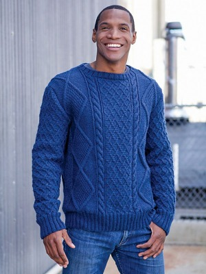 Berroco Vintage Artin Cabled Pullover Kit - Mens Sweaters
