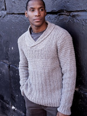 Berroco Remix Alec Shawl-Collared Pullover Kit - Mens Sweaters