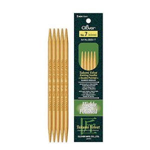 "Clover Takumi Velvet Double Point Needles - US 8 - 5"" Needles"