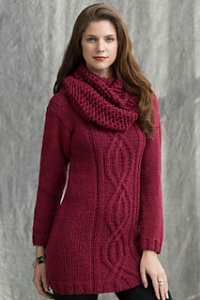 Tahki Aria Wine Country Tunic & Cowl Kit - Women's Pullovers