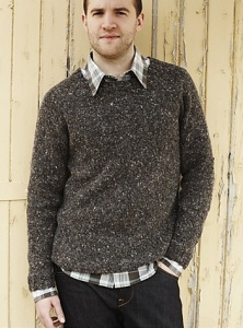 Debbie Bliss Luxury Tweed Aran Tim's Classic Sweater Kit - Mens Sweaters