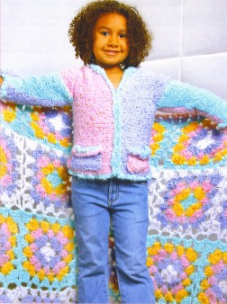 Trendsetter Yarn Patterns - 3124 - Delicious Granny Square Baby Blanket Pattern