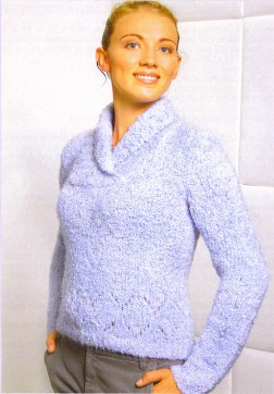 Trendsetter Yarn Patterns - 3120 - Delicious Openwork Crossed Shawl Collar Pullover Pattern