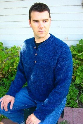 Knitting Pure and Simple Men's Sweater Patterns - 255 - Henley Neck Down Pullover for Men Pattern
