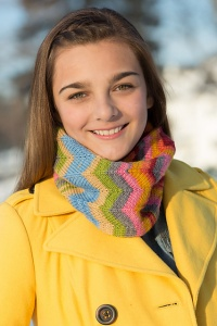 Classic Elite Liberty Wool Print Doubled Chevron Cowl Kit - Scarf and Shawls