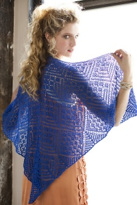 Knit One Crochet Too Cria Lace Cobalt Lace Shawl Kit - Scarf and Shawls