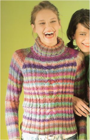 Lang Yarns Mille Colori Cabled Raglan Pullover Kit - Women's Pullovers