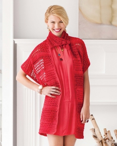 Red Heart Soft Solid Mock Neck Vest Kit - Crochet for Adults