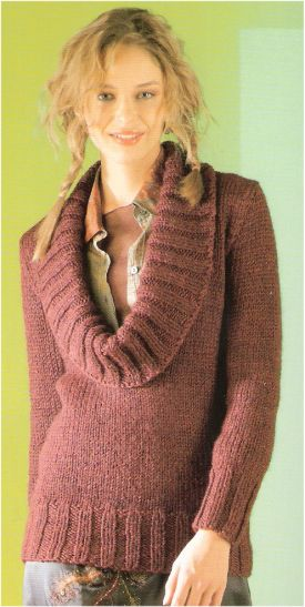 Lang Yarns Pearl Cowl Neck Long Pullover Kit - Women's Pullovers