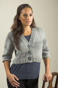Plymouth Encore Worsted Colorspun Cropped Cardi Kit - Women's Cardigans