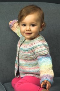 Plymouth Encore Dynamo Baby and Toddler Top Down Cardigan Kit - Baby and Kids Cardigans