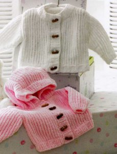 James C. Brett Flutterby Chunky Baby Jackets Kit - Baby and Kids Cardigans