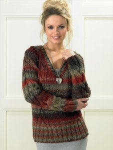James C. Brett Marble Chunky V-Neck Cabled Pullover Kit - Women's Pullovers