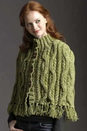 Tahki Donegal Tweed Cabled Cape with Fringe Kit - Women's Accessories