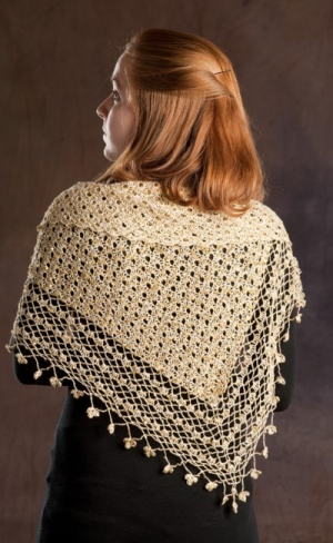 Rozetti Yarns Cotton Gold Crocheted Shawl with Sequins Kit - Scarf and Shawls