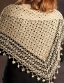 Rozetti Yarns Cotton Gold Crocheted Shawl with Sequins