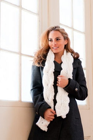 Plymouth Encore Mega Reversible Cable Scarf Kit - Scarf and Shawls
